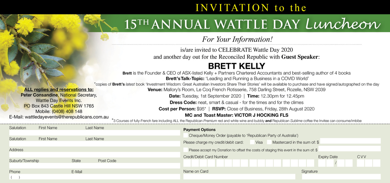 RPA Wattle Day Luncheon Invite 2020