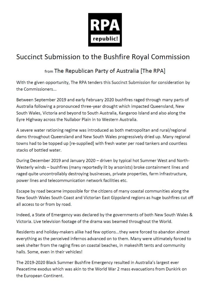 Succinct Submission to the Bushfire Royal Commission