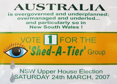 Australia is Overgoverned & Underplanned Vote 1 Shed A Tier! Group Version 3 sign