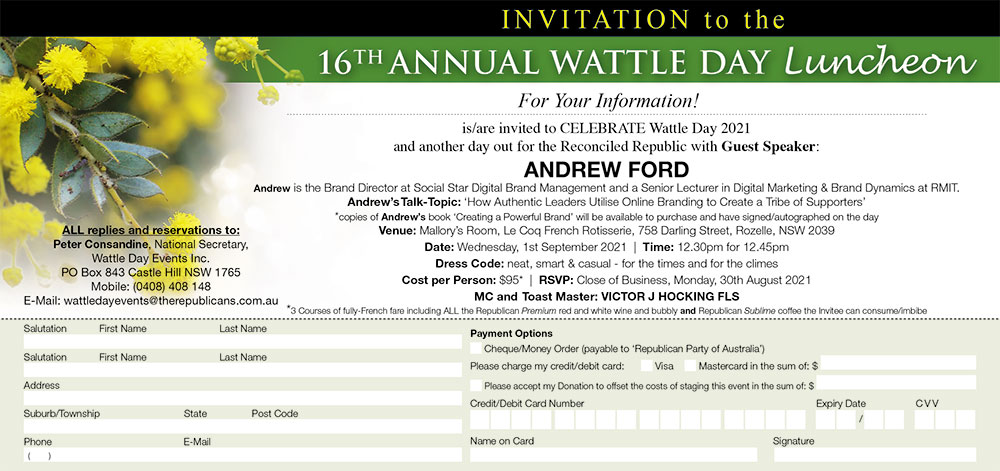 RPA Wattle Day Luncheon Invite 2021