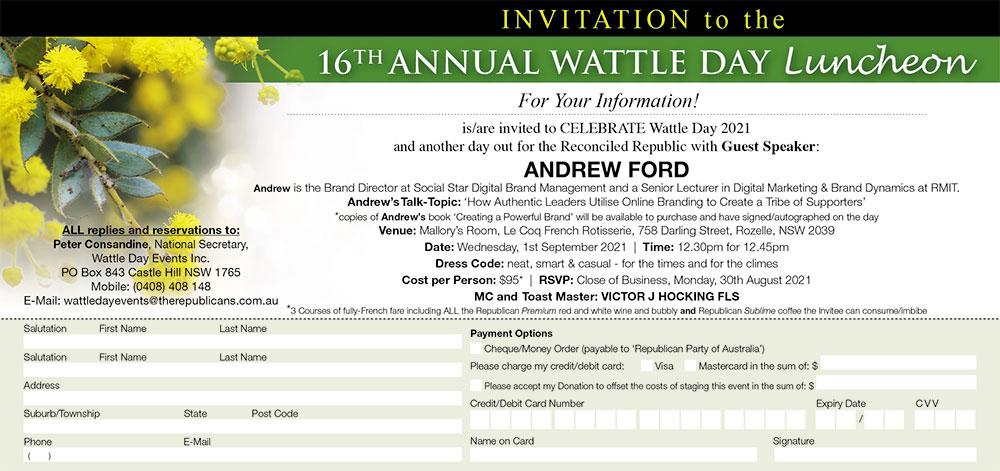 RPA Wattle Day Luncheon Invite 2021